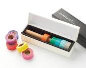 Maste Japanese Washi Masking Tape Collection Box (Ivory) Masté Washi Tape Dispenser Storage Box With Cutting Edge (WMST-BOX1-IV)