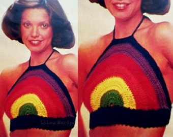 Crochet Halter Top Pattern Crochet Summer Top Pattern Crochet Bikini Top Pattern Vintage 70s Crochet Rainbow Top Halter Pattern