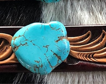 Fully Tooled, Completely Dyed CHOKER w/Turquoise Rock