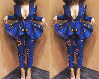 NuVu Jacket with Peplum and Pants, clothing, Summer,pant suit, African Print, classy top and pants, African, Slay queen, pantsuit,