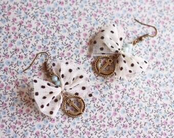 Anchor Earrings. Nautical sail Earrings, Sailor Earrings. Hipster Earrings. Anchor Jewelry. Beach wedding earring. Long dangle earring.