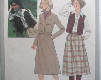 1970's Women's Sewing Pattern - Skirt, Unlined Jacket and Vest - Simplicity 8201 - Size 12, Bust 34