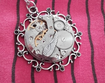 Necklace steampunk gears silver watch with Wing