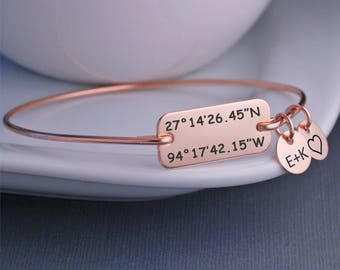 Rose Gold Latitude Longitude Bracelet, Anniversary Gift for Wife, Christmas Gift for Her, Custom Coordinate Jewelry, Location Jewelry