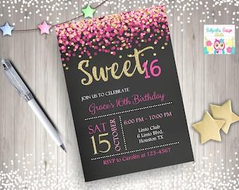 Sweet 16 Invitation pink and gold sweet 16 birthday invitation Invite Printable