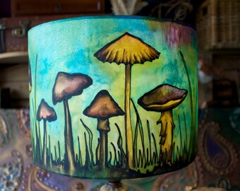Blue Mushroom, Hand Silk Painted Lamp Shade, 30cm Drum, Made To Order.