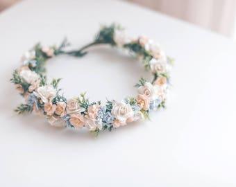 Blush Peach and Little Blue Flower Crown