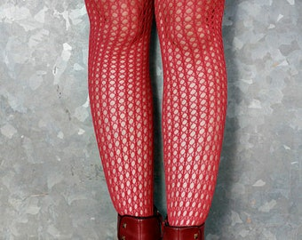 Vintage High Quality Rose Pink Holes and Striped Nylon Stockings Tights Size 12