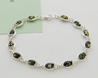 Silver and amber green bracelet