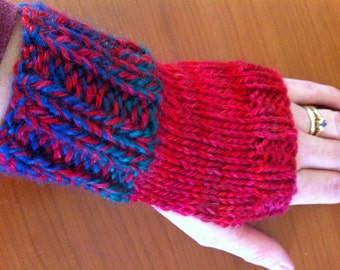 SALE: Red, Blue & Green Fingerless Gloves