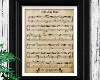 5th Anniversary Wood Gift for Men | Anniversary For Him | Custom Sheet Music Art Wood Frame | Husband Anniversary | 5 Year Anniversary