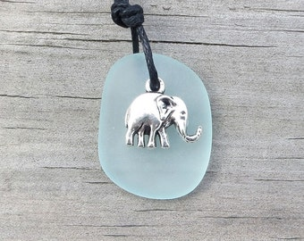 Pale Aqua Sea Glass Elephant Necklace by Wave of Life™