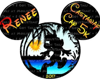 Castaway Cay 5k Ears - Minnie Version! - Iron-On OR Magnet