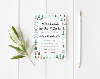 Cabin Weekend,Cabin Weekend Invite,Weekend in the Woods,Bachelorette Invitation,Mountain Bachelorette,Bachelorette Party,Weekend Invitation