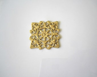 Raw Brass Filigree Square Brass Square Filigree Findings Raw Brass Filigree Square Brass Jewelry Supplies 25mm (1 pc) 61V7