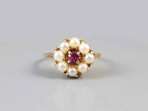 Antique Edwardian 14k gold rhodolite plum garnet and genuine cultured pearl halo ring, size 5
