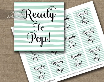 Ready To Pop Shower Favor Tags - Printable Mint & White Baby Shower Popcorn Favor Tags - Ready To Pop Baby Shower Decor - DSM