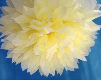 PALE YELLOW / 1 tissue paper pom pom / wedding decorations, baby shower, birthday decor, pom poms, tissue paper, paper poms, tissue poms