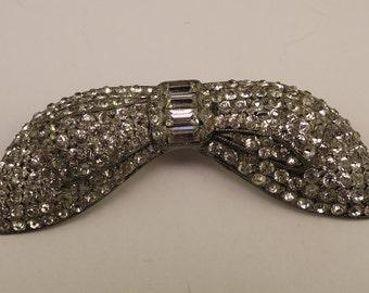 1940s Bow Shaped Rhinestone Pin
