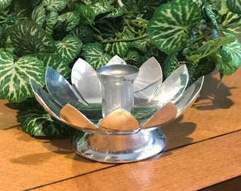 Leonard Silverplate Lotus Candle Holder