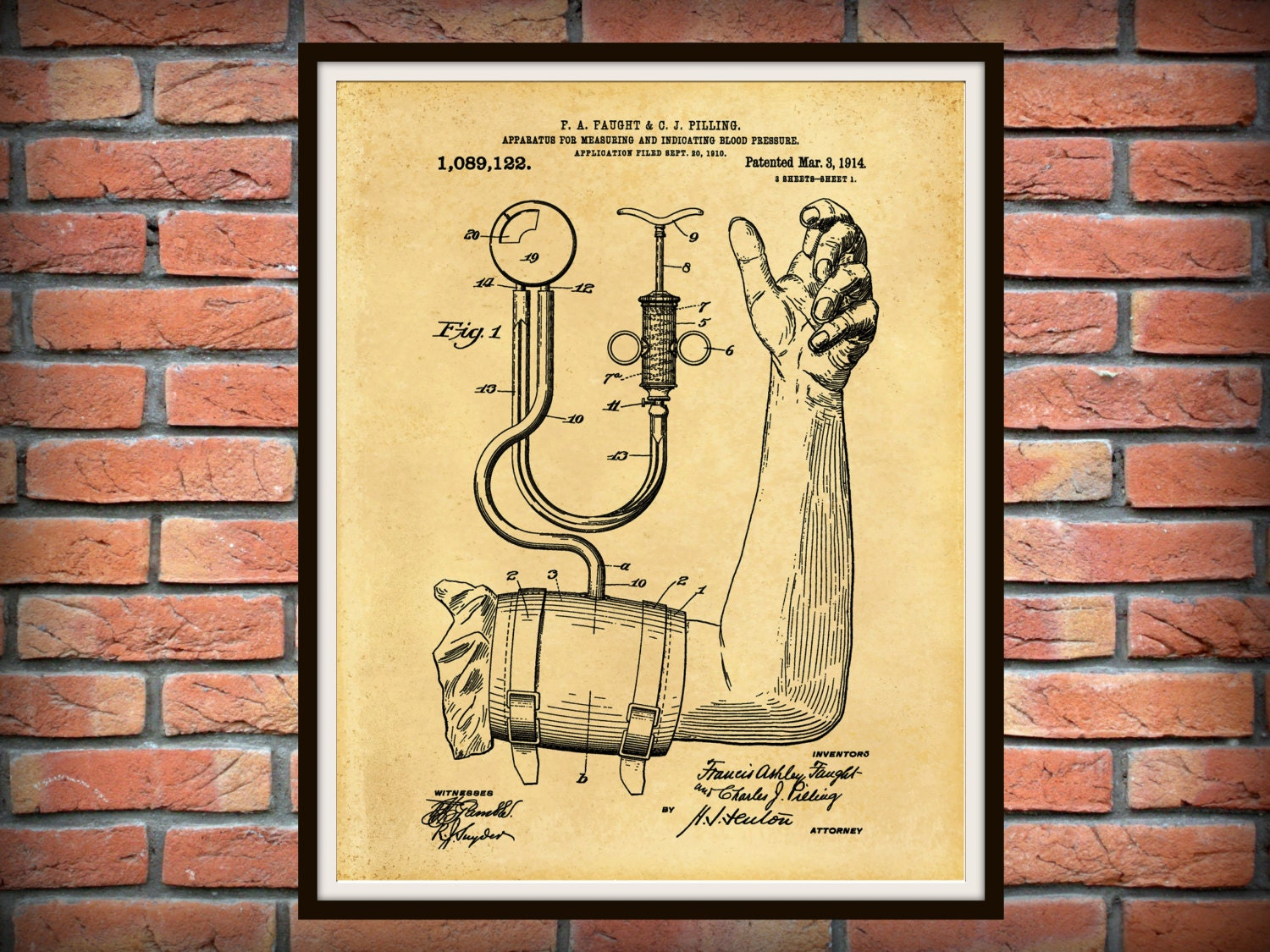 Patent 1914 Blood Pressure Cuff Art Print - Poster - Medical - BP ...