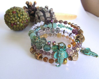 Indie Boho Wrap Braclet, Elephant Bracelet, Memory Wire Bracelet, Bohemian jewelry, Earthy, Moonlilydesigns, Boho Bracelet, Beaded Bracelet