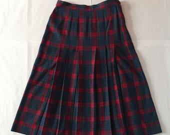 Pendleton wool skirt | tartan pleated maxi skirt | periwinkle blue and pinkish red plaid skirt