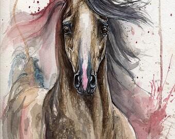 Dark grey arabian horse ink and watercolour painting