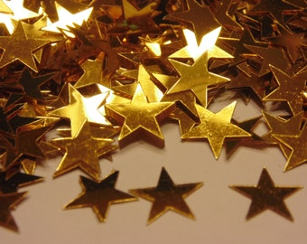 bag of large gold star confetti / sequins, 10 mm (8)
