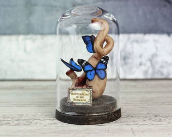 Butterflies in my Stomach - Anatomy in a Glass Dome - Miniature - Weird Home Decor - Gothic - Odd Gifts -  - 2.75 x 1.73 inches / 7 x 4,4 cm