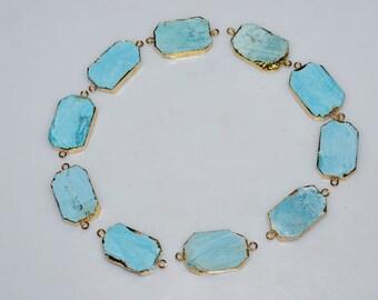 10 Pcs.Matte Magnesite Turquoise Electroplated Egde-Magnesite Turquoise Octagon 24k Gold Plated Connector Pendant , 30-34 mm , AH053
