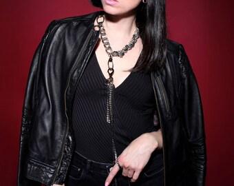 Statement Fringe Necklace - Long Chain Choker  w. Removable Tassel - LayeredAndLong - Futuristic - Sexy - Kinky - Gossip Girl - BAD GIRLS
