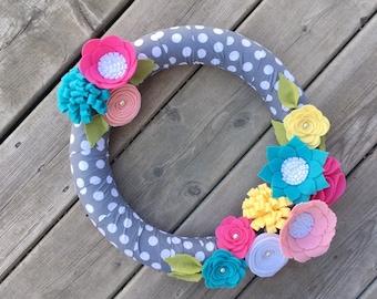 Felt Flower Wreath, Spring Wreath, Front Door Wreath, Felt Floral wreath, Summer Wreath, Pink Aqua Yellow Felt Flowers