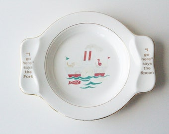 Ship My First Plate by Homer Laughlin. Child's plate. Baby Gift.