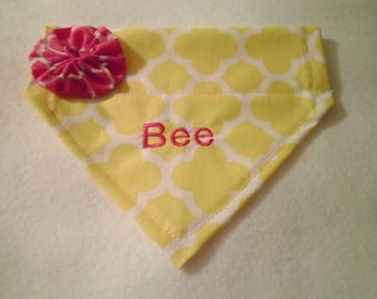 Custom yellow, dog bandana, Personalized,  summer scarf, Over the Collar, Dog Lovers Gift, New puppy, Vacation,  Photo Shoot