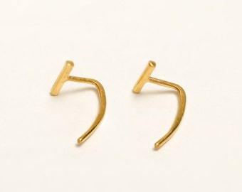 Bar Open Hoop Earrings, Sterling Silver, Gold Plated, Bar Threader Earrings, Hugging Hoops, Minimalist Jewelry,  Gift for Mom, Lunai, EAR029