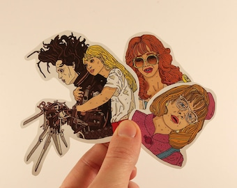 edward scissorhands stickers laptop labels tags tim burton illustration