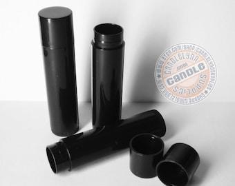 25 Black Lip Balm Tubes w/Caps