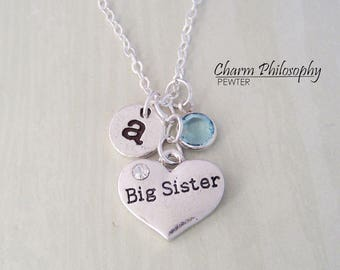 Big Sister Necklace - Antique Silver Jewelry - Monogram Personalized Initial and Birthstone - Heart Charm