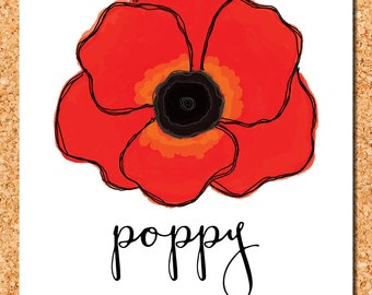 floral wall art: red poppy