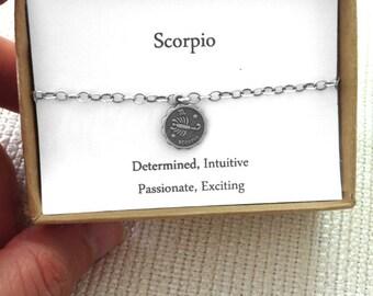 Scorpio Bracelet, Zodiac Jewelry, Horoscope, Astrology Gift, Birthday Present, November, For mother,daughter,girlfriend