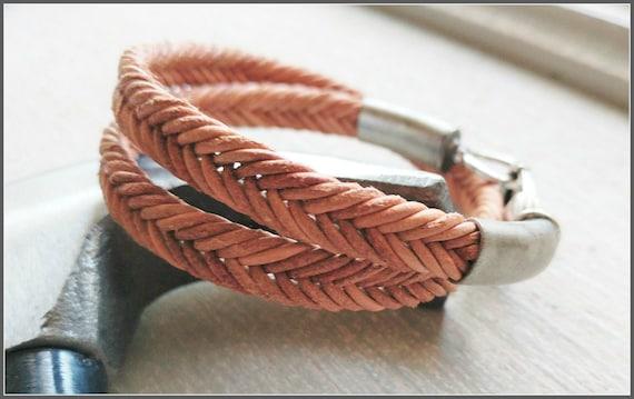 Men Leather Bracelet, Braided Bracelet, Brown Braid Bracelet, Mens Leather Jewelry, Mens Brown Bracelet, Mens Statement Jewelry