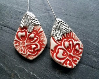 Ceramic Earrings Charms Pair with Decorative Tinwork - You Choose Metal Color - #M-6