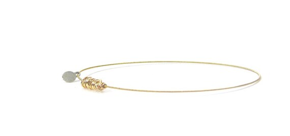 Guitar String Jewelry // Thin Gold Charm Bracelet // Bangle