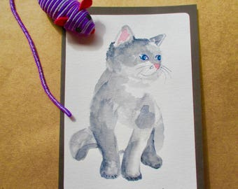 Original Watercolor cat-kitten-pet Blank Note Card