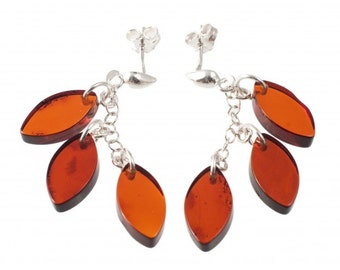 "Silver earrings with amber ""Leafs"""
