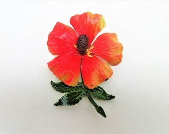Vintage Metal Flower Pin | Flower Brooch | Enamel Pin | Orange Flower Pin | Metal Flower Brooch | 60s Jewelry | Flower Power