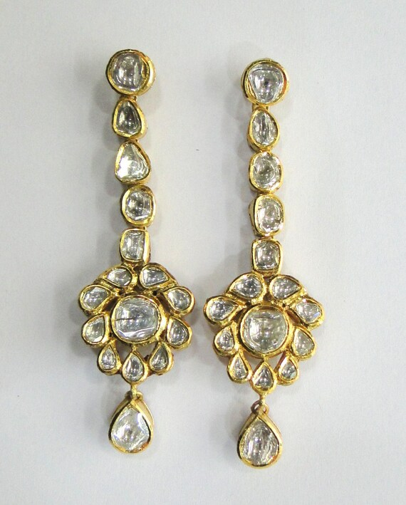 Vintage antique Handmade Solid 20K Gold jewelry diamond Polki