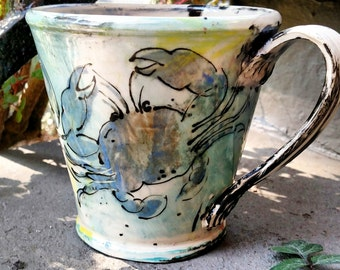 Blue Crab Mug - Hand Painted - Made to Order