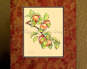 Apples - Orchard - Original Painting - Impressionist - Pastel - Kitchen Art - Tree Branch - Apple Tree - Red, Green - Fruit